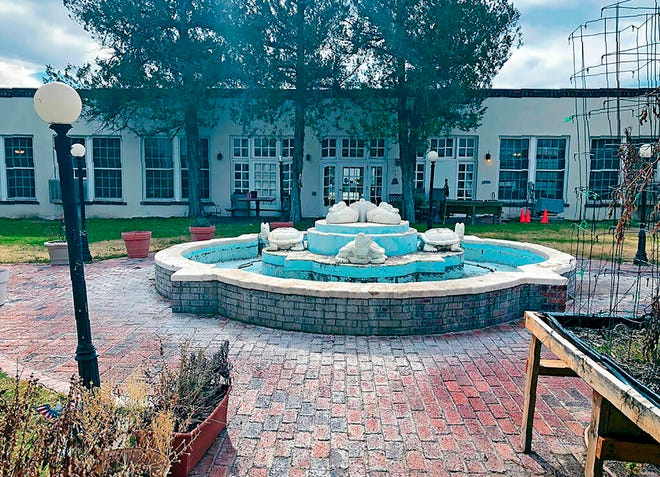 In this Jan. 4, 2020, photo, the New Deal Turtle Fountain, replete with cement ducks, frogs and trucks, sits in the middle of a courtyard at the New Mexico State Veterans Home in Truth or Consequences, New Mexico.