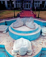 In this Jan. 4, 2020, photo, the New Deal Turtle Fountain, replete with cement ducks, frogs and trucks, sits in the middle of a courtyard at the New Mexico State Veterans Home in Truth or Consequences, N.M.