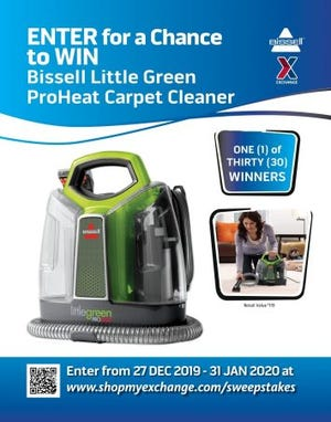Military shoppers can keep their cut-pile carpet clean or the shag rug spotless with the Army & Air Force Exchange Service's Bissell Little Green ProHeat sweepstakes.
