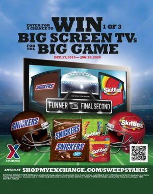 The big game needs a big screen. The Army & Air Force Exchange Service is giving away three $1,500 gift cards that can be used toward a TV purchases in the Mars Big Game Sweepstakes.