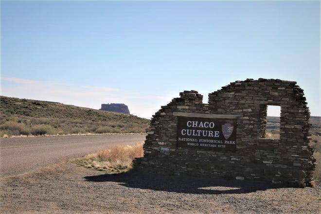 The entrance to Chaco Culture National Historical Park is pictured April 14, 2019, with Fajada Butte in the background.