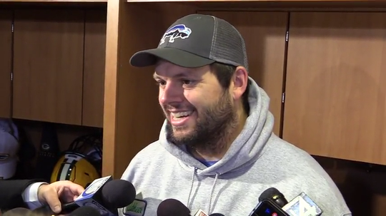 Packers backup tackle Jared Veldheer talks after starting in a 2019 playoff win over the Seahawks.