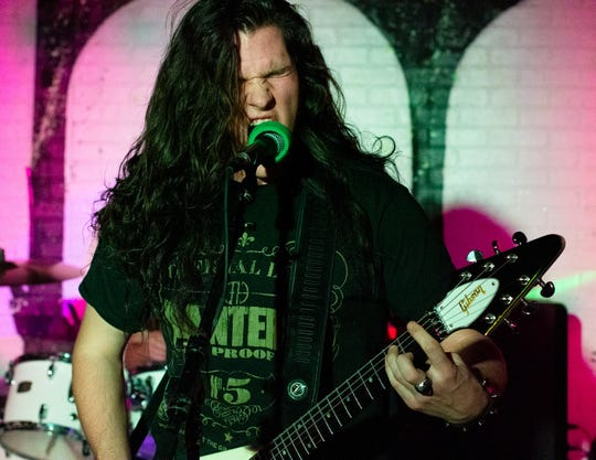 Mark Wadlund of Instigator during a performance at The Hood Bar and Pizza in Palm Desert, Calif. on Dec. 20, 2019.