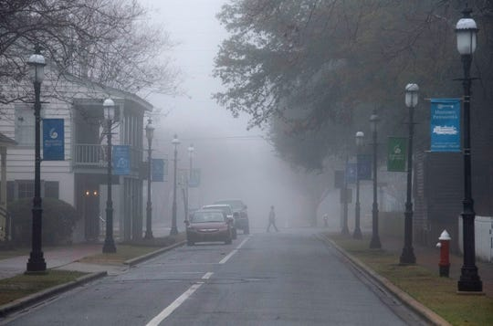 A blanket of thick, dense fog hangs over the Pensacola area on Monday, Jan. 13, 2020.