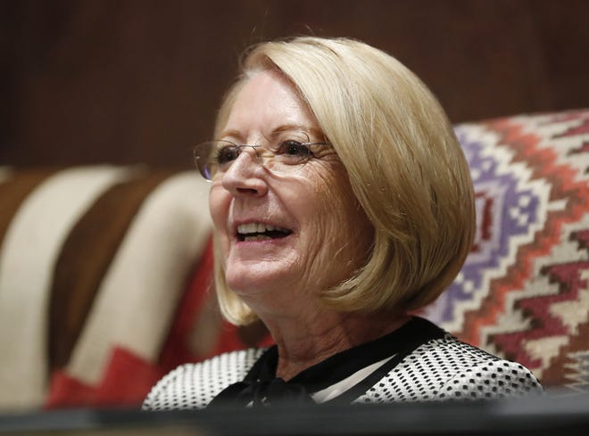 Senate President Karen Fann listens during Gov. Doug Ducey's State of the State address at the Arizona State Capitol on January 13, 2020.