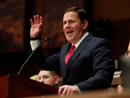 Gov. Doug Ducey delivers his State of the State address at the Arizona state Capitol on Jan. 13, 2020.