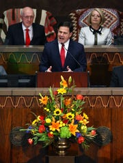 Arizona Gov. Doug Ducey makes his State of the State address before a joint session of the State Legislature on Jan. 13, 2020 in Phoenix.