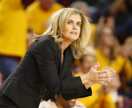 Arizona State head coach Charli Turner Thorne watches her team play against Oregon State during the third quarter at Desert Financial Arena January 12, 2020.