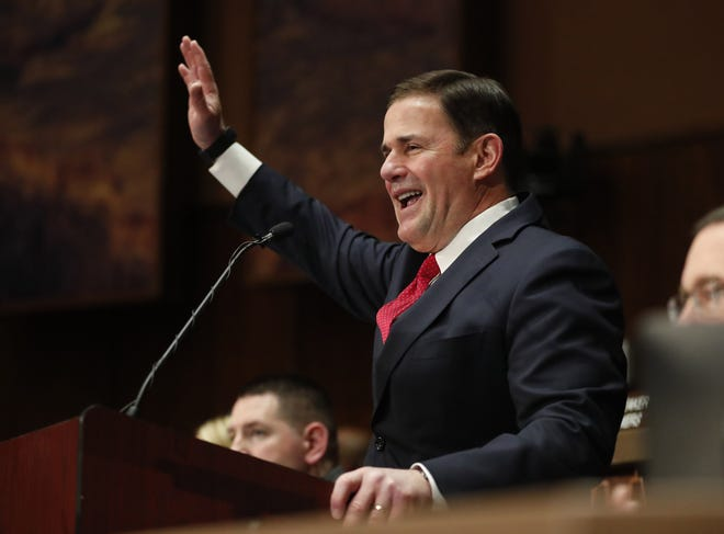 Gov. Doug Ducey delivers his State of the State address at the Arizona State Capitol on January 13, 2020.