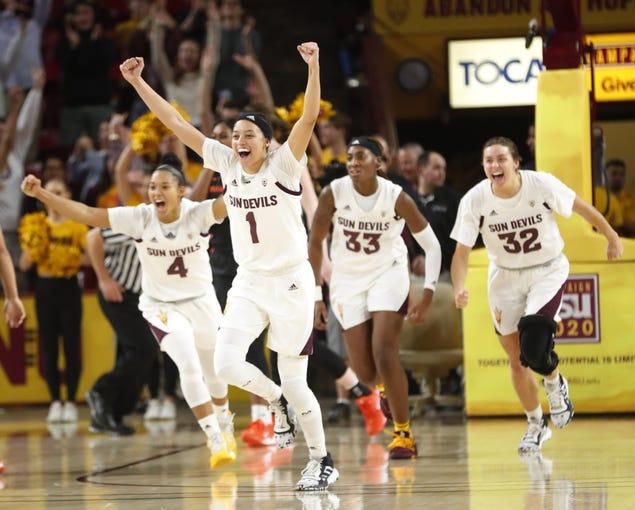ASU players celebrate after beating Oregon St.  at Desert Financial Arena January 12, 2020.