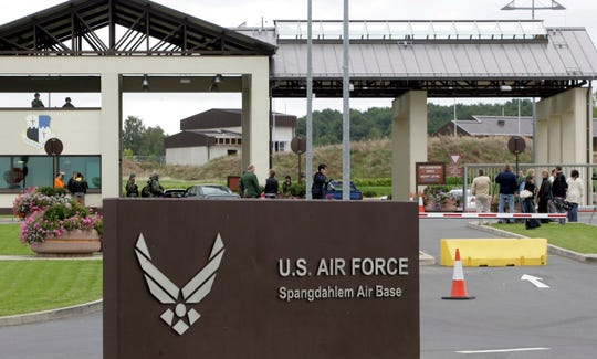 This Tuesday, Sept.11, 2007 file photo shows the main entrance of US airbase in Spangdahlem, western Germany.