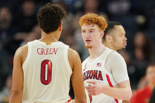 Arizona guards Nico Mannion (1) and Josh Green (0) are among three Wildcats projected to be first-round NBA draft picks in recent NBA mock drafts.