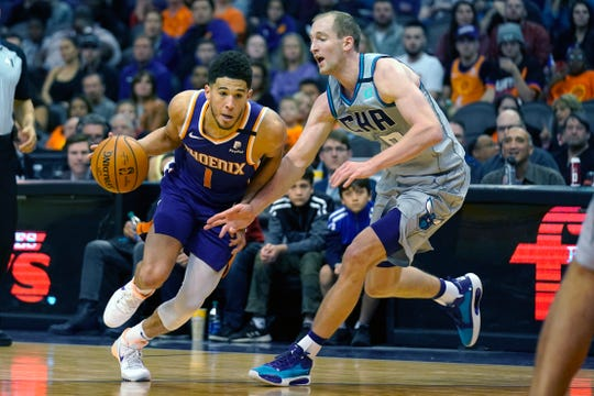 Phoenix Suns guard Devin Booker (1) drives past Charlotte Hornets forward Cody Zeller during the second half of an NBA basketball game Sunday, Jan. 12, 2020, in Phoenix. Phoenix won 100-92. (AP Photo/Rick Scuteri)
