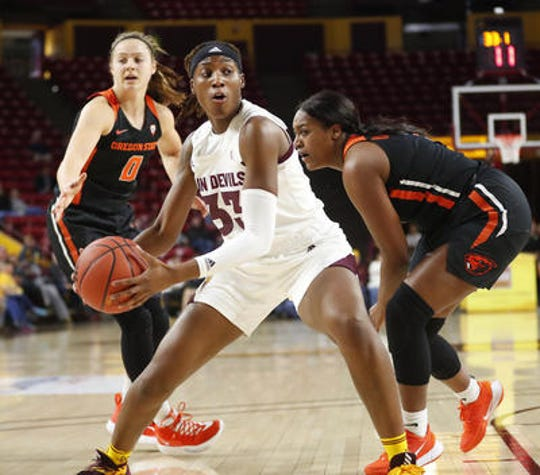 Senior center Ja'Tavia Tapley had a combined 30 points and 12 rebounds in ASU women's basketball upsets of No. 2 Oregon and No. 3 Oregon State.