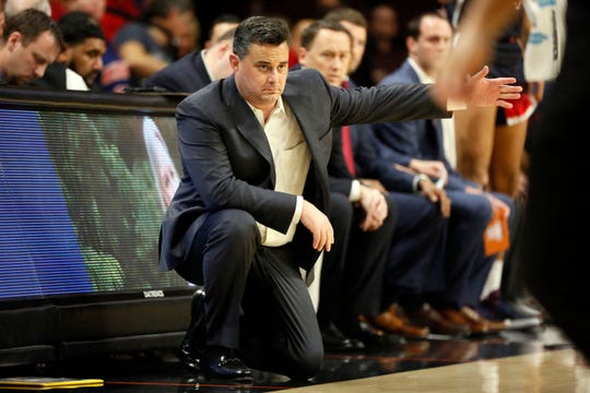 Arizona Wildcats head coach Sean Miller gives direction to his team against the Oregon State Beavers during the first half at Gill Coliseum.