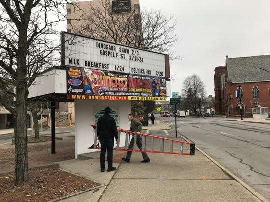 Majed J. Nesheiwat Convention Center staff removed Louis C.K.'s name from the marquee just before 4 p.m. Monday.