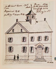 Lewis Miller drawing of the first York County Courthouse.