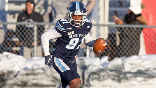 Aquinas graduate Earnest Edwards caught 49 passes for 1,097 yards and 11 touchdowns during the 2019 season for the University of Maine.