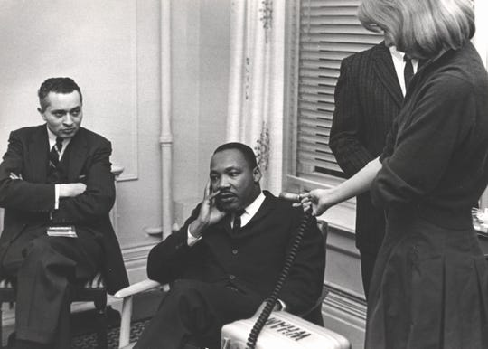 Martin Luther King Jr. is interviewed in Rochester during his visit in 1962.