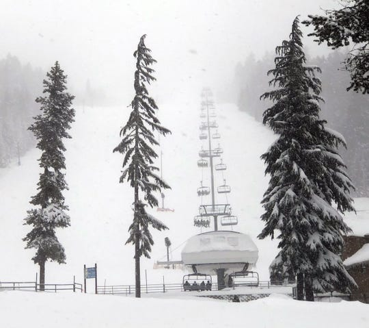 The chairlifts were mostly full at Willamette Pass Resort on Saturday, January 11.
