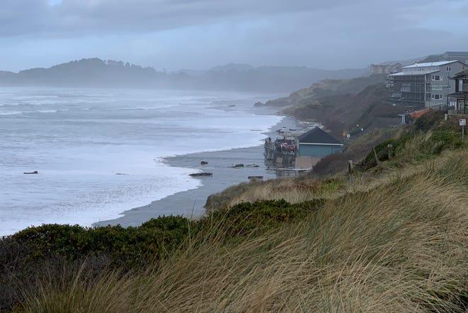 The king tides crash against the Nye Beach shoreline on the Oregon Coast on Saturday, January 11, 2020.