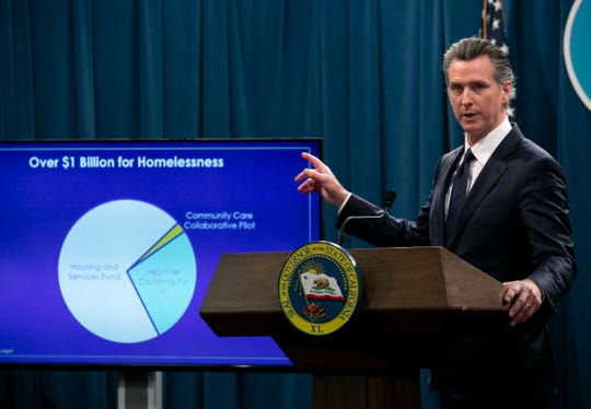 "Gov. Gavin Newsom, answering questions on his 2020-21 state budget on January 10, 2020, told reporters: """"You want to know who's the homeless czar? I'm the homeless czar in the state of California."" Photo use for CalMatters story only"