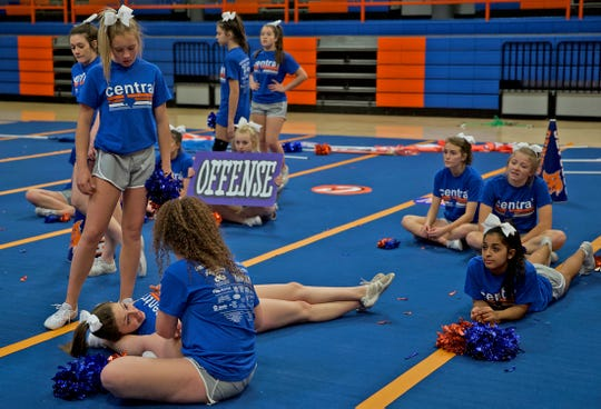 Members of the Central High School cheerleading team take a break during a practice Thursday, Jan. 9, 2020.