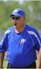 Reagan County's Ken Campbell, a longtime basketball coach, is shown in 2012 during his time as the school's head football coach.