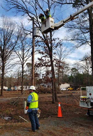 SWEPCO works to restore power following a storm in Bossier Parish.