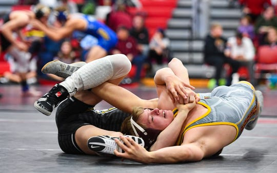 Braden Sehr of Canton and Eli Leonhardt of Roosevelt wrestle at the Brandon Valley Invitational meet on Saturday, Jan. 11, at Brandon Valley High School.