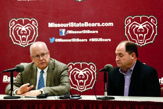 MSU President Clif Smart (left) and MSU Athletics Director Kyle Moats (right)