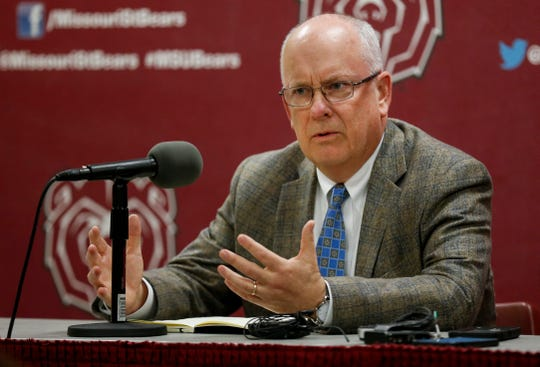 Missouri State University President Clif Smart speaks during a press conference regarding the university parting ways with former head football coach Dave Steckel during a press conference on Monday, Jan. 13, 2020.