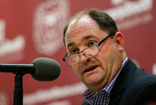 Missouri State University Director of Athletics Kyle Moats speaks during a press conference regarding the university parting ways with former head football coach Dave Steckel during a press conference on Monday, Jan. 13, 2020.