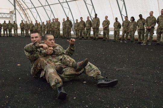 Rhys Bullington in hand-to-hand combat training