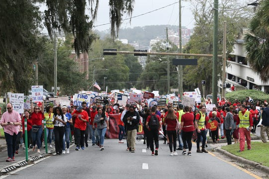 Thousands rallied and marched from the Donald L. Tucker Civic Center to the Florida Historic Capitol to demand more money for public schools Monday, Jan. 13, 2020.