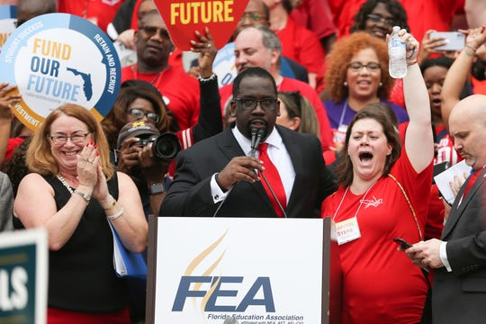 Fedrick Ingram, president of the Florida Education Association, speaks to the crowd of thousands gathered in front of the Florida Historic Capitol demanding more money for public schools Monday, Jan. 13, 2020.