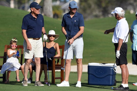 "Former professional tennis player Mardy Fish (center) chats with his father, Tom Fish (right), on the 17th tee box at the Windsor Club in Indian River County on Monday, Jan. 13, 2020, during his annual Mardy Fish Children's Foundation Golf Fundraiser. The money raised during the event benefits several organizations and after-school programs in the county. ""Windsor has been nice enough to donate the golf course for us to use, they've been a lot of help to us throughout the years,"" said Mardy Fish. ""The challenge with foundations is that every dollar someone gives you, you want to give as much of that as you can to the kids. We have several organizations in the county that we help out with."""