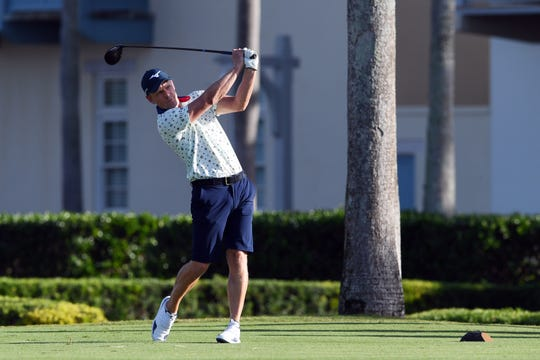 Former PGA No. 1 golfer Luke Donald hits from the first tee box on Monday, Jan. 13, 2020, during the annual Mardy Fish Children's Foundation Golf Fundraiser at the Windsor Club in Indian River County. Money raised from the event goes to benefit several after-school programs in the county.