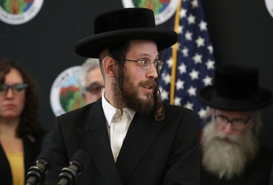 Josef Gluck attends a press conference by Gov. Andrew Cuomo at Ramapo Town Hall Jan. 13, 2020. Cuomo announced funding for license plate readers. Gluck took note of the Monsey stabbing attacker's license plate, which led to his arrest.