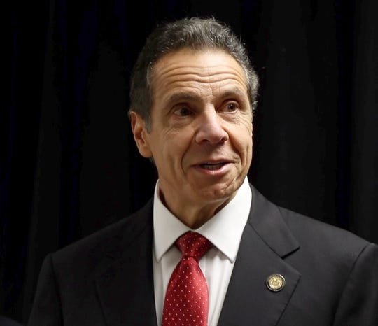 Gov. Andrew Cuomo speaks to reporters at Ramapo Town Hall on Jan. 13, 2020. The governor said he had no idea that the LED light display on the Gov. Mario M. Cuomo Bridge -- one of the bridge's high-profile, high-tech and most-popular features -- has been dark since November.