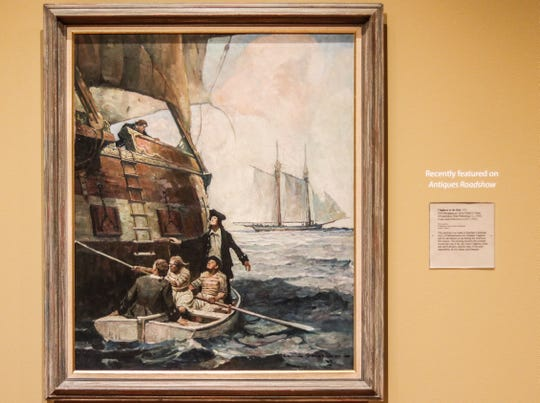 """Claghorn at the Rail,"" a 1923 illustration for ""Privateers of '76"" by  Frank Earle Schoonover, was one of the finds by ""Antiques Roadshow"" at Winterthur Museum. It will be on display at the Delaware Art Museum through July 5."