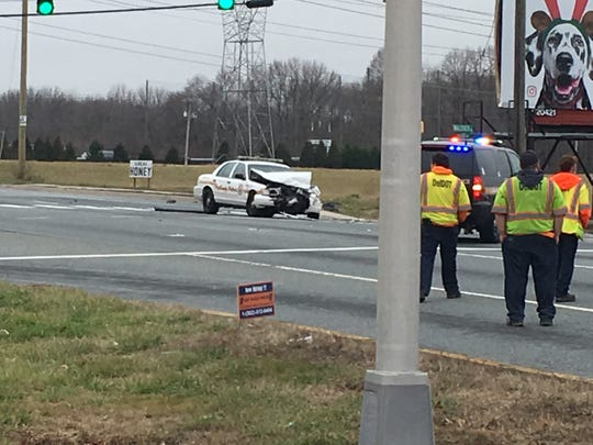 New Castle County Police closed down Route 40 westat Governor Square andsouth Walther Road to Pierce Run in Bear for a police-involved crashThursday afternoon.