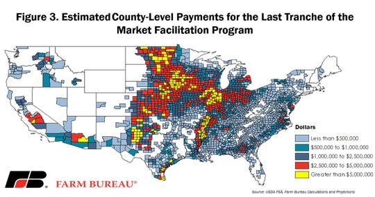 Estimated county-level tranche 3 MFP payment.