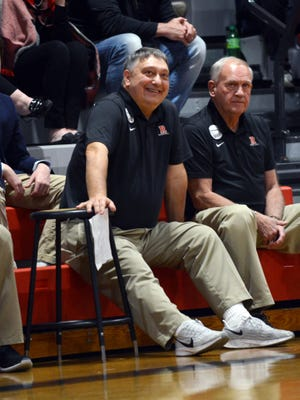 Rosecrans coaches Todd Rock, left, and Ed Johnston watch from the bench as their team tops Berne Union last Saturday at Rogge Gymnasium. The unbeaten Bishops moved to No. 2 in the Associated Press' weekly boys basketball poll on Monday.