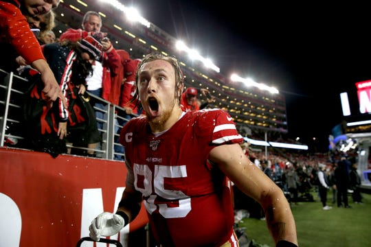 San Francisco 49ers tight end George Kittle (85) celebrates after the game against the Los Angeles Rams at Levi's Stadium.