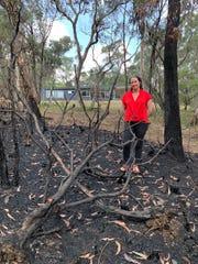 Bianca Nogrady in the burned area outside her home in Blackheath, Australia, in January 2020.