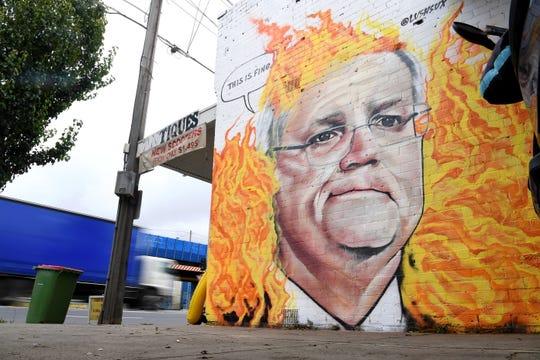 A mural depicting Australian Prime Minister Scott Morrison in  Melbourne on Jan. 7, 2020.