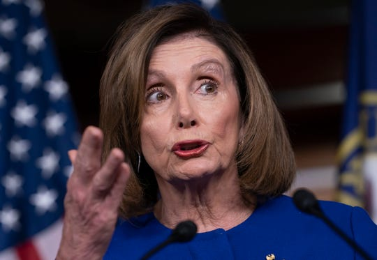 House Speaker Nancy Pelosi, D-Calif., shown speaking to reporters Jan. 9, 2020, meets with the Democratic Caucus Tuesday to discuss next steps in the impeachment of President Donald Trump.