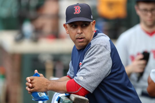 Red Sox manager Alex Cora shown prior to the game against the Orioles at Oriole Park at Camden Yards.