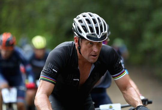 Lance Armstrong of the United States competes in Day 1 of the La Ruta de Los Conquistadores on November 1, 2018.